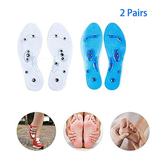 ([2 Pairs ]Massaging Insoles,Acupressure Magnetic Massage Foot Therapy Reflexology Pain Relief Shoe Insoles Washable and Cutable (Transparent and Blue))