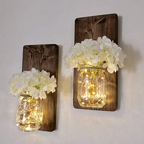 - Set of Two Lighted Sconces Country Rustic Mason Jar Wall Sconce Hanging Lantern LED Fairy Lights and White Hydrangea Sprays