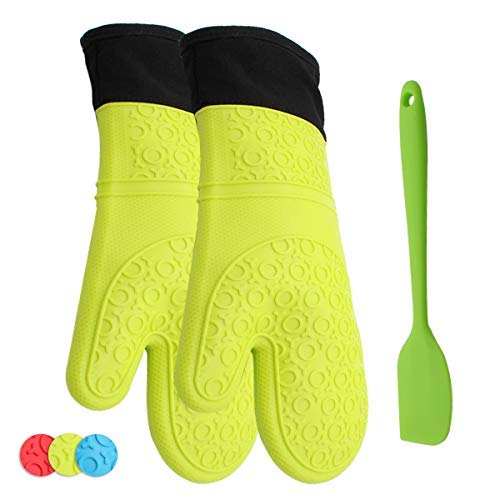 ATOZEDO Silicone Oven Mitts Set, Extra Long Professional Heat Resistant Pot Holders and Oven Gloves with Quilted Cotton Lining - Plus Silicone Spatulas-Green
