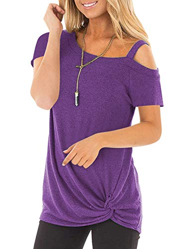 SHIBEVER Women's Summer Fashion Twist Knotted Short Sleeve Round Neck Tunic T Shirt Casual One Shoulder with Spaghetti Straps Blouse Purple 2XL