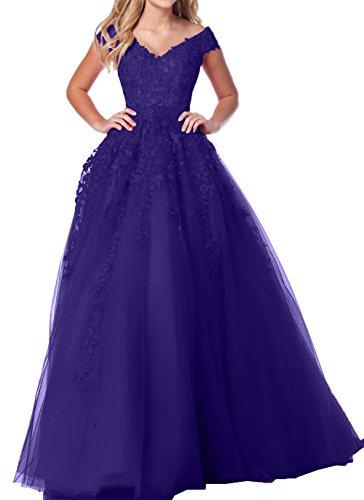 V Blau A Damen Regency Prinzess Abendkleider Ausschnitt Dunkel Spitze Charmant Abschlussballkleider Abiballkleider Linie 6IfnwCnqO