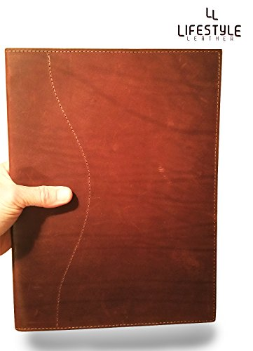 Genuine Latigo Leather Letter Padfolio/ Portfolio - Perfect for Executives and Business Professionals, Refillable Notepad, Side Hinge (Burgundy) by Amazing Leather Products