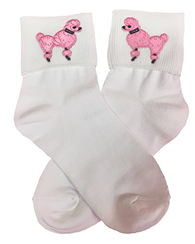 Hip Hop 50s Shop Girls Bobby Socks W/Poodle Applique (Hot Pink, (50s Pink Sock)