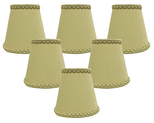Royal Designs, Inc CSO-1041-5AGL-6 Royal Designs Empire Chandelier Lamp Shade with Decorative Trim, 3'' x 5'' x 4.5'', Clip-on-Set of 6, Antique Gold, 6 Piece by Royal Designs, Inc