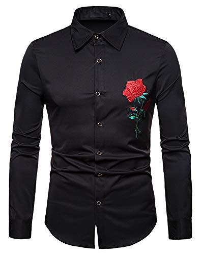 WHATLEES Mens Solid Long Sleeve Slim Fit Embroidery Design Button Down Casual Dress Shirt