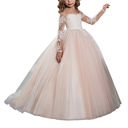 Abaowedding Lace Embroidery Sheer Long Sleeves Kids Trailing Gowns (Picture Color, 2)