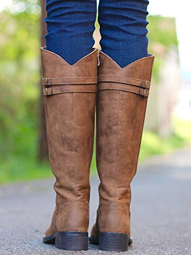 Knee Boots High 1 Calf Ermonn Chunky Riding Combat Buckle Strappy Winter brown Boots Womens Wide YqxTxIgX