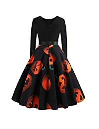 Alian Women's Halloween Dress Pumpkin Vintage Printing Long Sleeve Flare Dress
