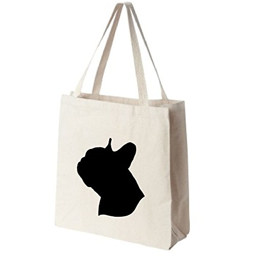 French Bulldog Dog Portrait Silhouette Extra Large Eco Friendly Reusable Cotton Canvas Grocery Shopping Tote Bag (Silhouette Pets Tote Bag)