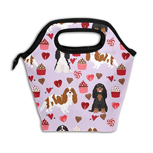 Cavalier King Charles Spaniel Mixed Coats Valentines Cupcakes Hearts Dog Purple_907 Lunch Bag Insulated Lunch Box Reusable Lunch Tote Cooler Organizer Bag Lunch Bags for Women,Men and Kids Adults]()