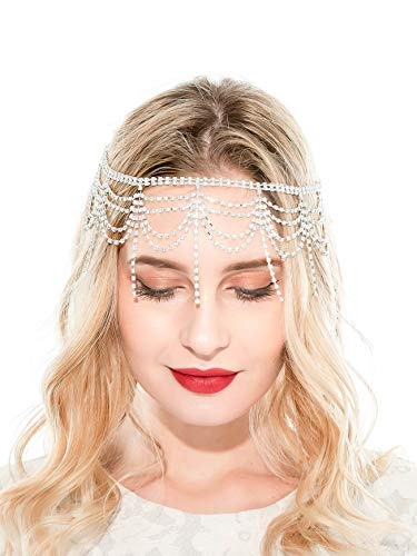 20s Headpiece 1920s Accessories Flapper Headband Crystal Cap Art Deco Hair Piece Wedding (A-Silver) for $<!--$13.99-->