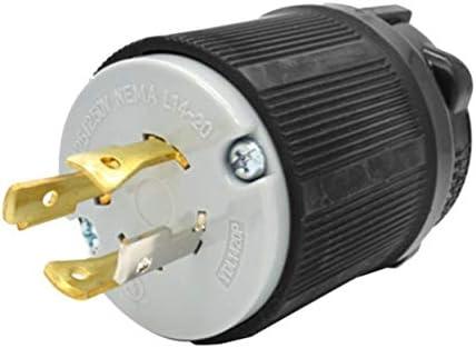 Heavy Duty 4-Prong Generator Locking Plug Device L14-20P Twist Lock 20A-125//250V