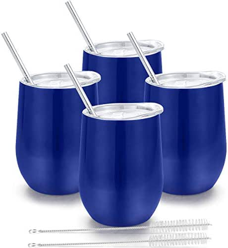 Insulated Wine Tumbler with Lid, Deedro 12 oz Double Wall Vacuum Insulated Wine Cup with Straws and Brushes, Stemless Stainless Steel Wine Glass for Champagne, Coffee, Drinks, 4 Pieces (Blue)