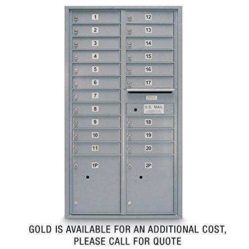 postalproducts N1029415SLVR 20 Door Standard 4C Mailbox with 2 Parcel Lockers, 56.5