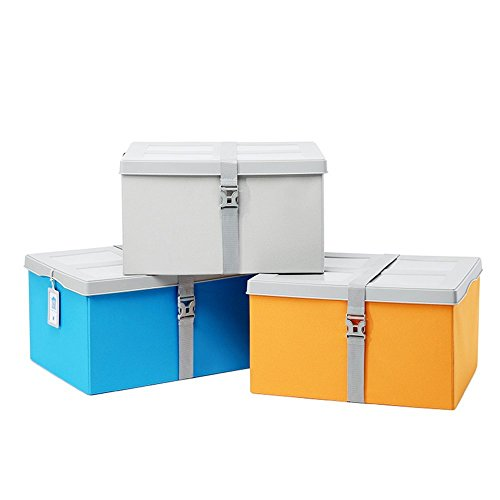 HOMEE Sofa stool- finishing the storage box there is a plastic cover folding stool extra large damp clothes storage stool banded stool (4 colors optional) (50 38 28cm) --storage stool,D by HOMEE (Image #2)