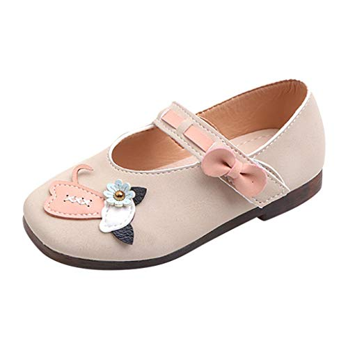 HYIRI Kids Baby Girls Mary Jane Flats with Bowknot Non-Slip Toddler First Walkers Princess Dress Shoes Beige ()