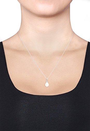 DIAMORE - Collier court - Argent 925 - Diamant 0.06 cts - Perle d'eau douce chinoises - 45 cm - 0103462315_45