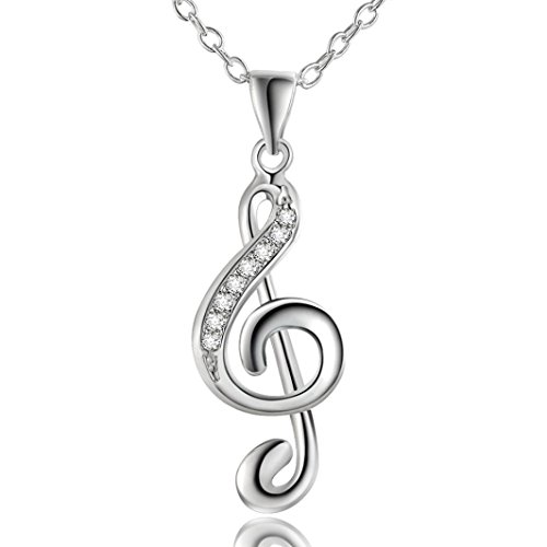 Besooly Jewelry Charm Pendant Necklace Chic Treble G Clef Music Note Gift Musical Hypoallergenic Gift Packing Necklace (Silver)