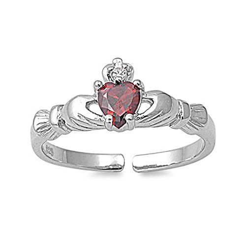 Sterling Silver Stylish Claddagh Toe Ring with Garnet Simulated Diamond Heart, Face Height 7 MM (Ring Stylish Toe)