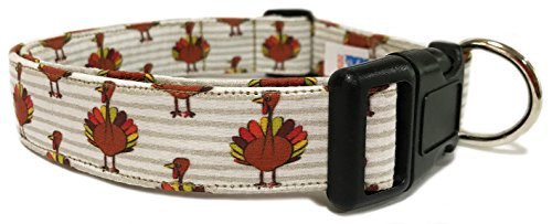 Adjustable Dog Collar in Holiday Thanksgiving Turkeys (Handmade in the U.S.A.- Fast Shipping)