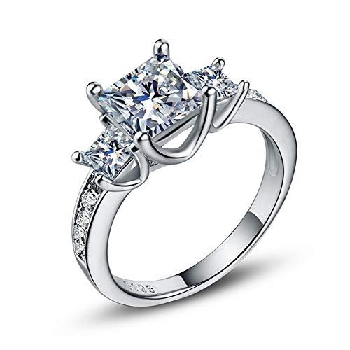 - Women's Zircon Ring Platinum Silver Jewelry (Size : 8)