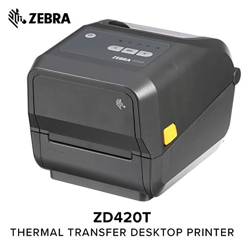 (Zebra - ZD420t Thermal Transfer Desktop Printer for Labels and Barcodes - Print Width 4 in - 300 dpi - Interface: WiFi, Bluetooth, USB - ZD42043-T01W01EZ)