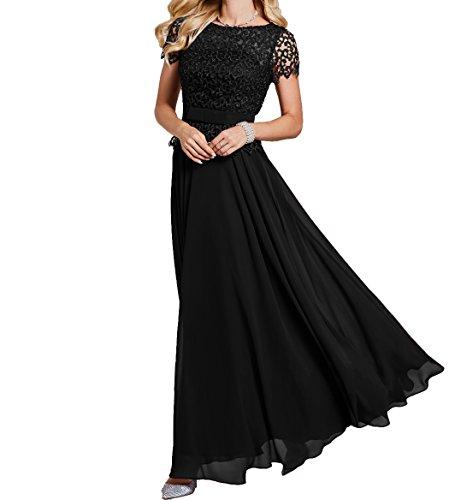 Charmant Spitze Ballkleider Schwarz Kurzarm Rock Abschlussballkleider Abendkleider Partykleider Elegant Damen Chiffon Festlichkleider Lang 6rqxE6S