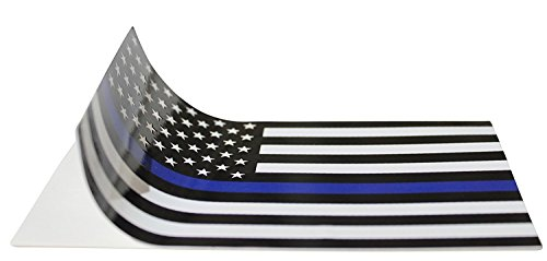 Thin Blue Line (2 Pack) Reflective ! Blue Lives Flag Decals Sticker 3x5 Blue Lives Matter Flag ()