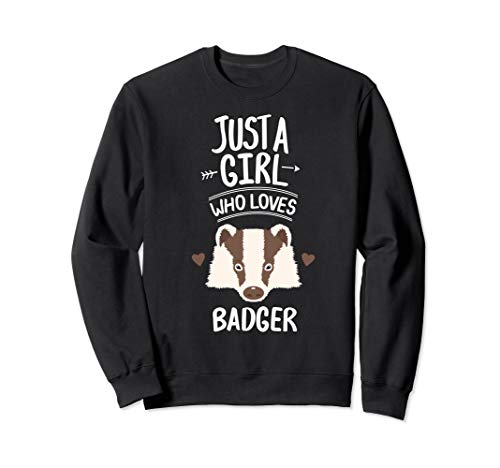 Womens Girl Loves Badger Animal Clothing Apparel Gift Kids Sweatshirt