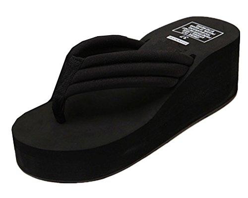 Anbover Wig Beach Sandals Voor Vrouwen Zomer Teenslippers Platform Zwart