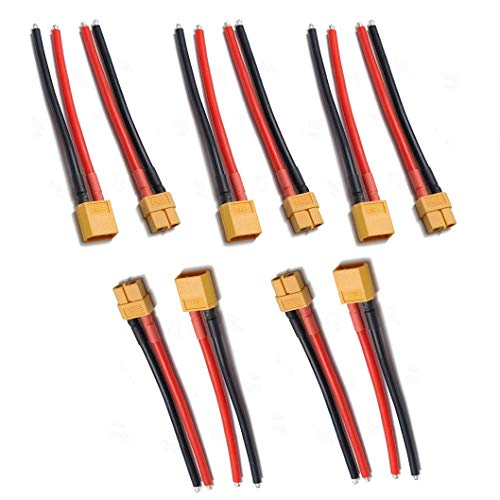 JFtech XT60 Connectors Male & Female Plug with 10cm 100mm 14 AWG