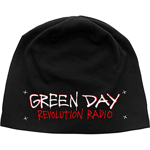 Green Day Beanie Hat Revolution Radio Band Logo Official Black Jersey Print Green Day Black Beanie