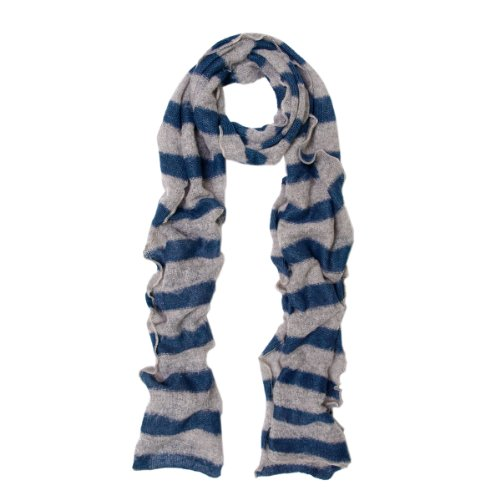 Premium Long Soft Knit Striped Scarf, Navy