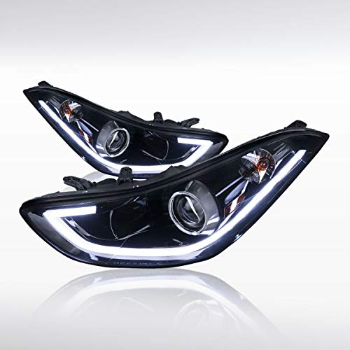 Autozensation For Elantra 4DR Sedan Glossy Black LED Strip Projector - Led 4dr Black