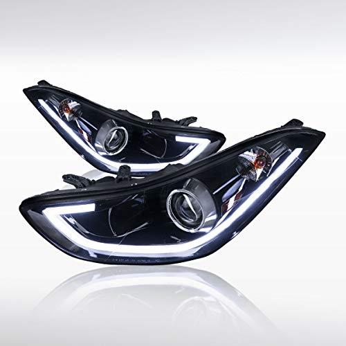 Autozensation For Elantra 4DR Sedan Glossy Black LED Strip Projector Headlights
