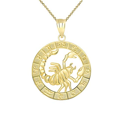 CaliRoseJewelry 14k Yellow Gold Scorpio Zodiac Pendant Necklace, 18