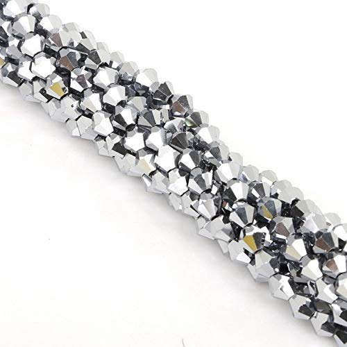 Calvas 50PCS Pick Your Color 6MM Small Bicone Crystal Beads Glass Beads Faceted Loose Beads DIY Jewelry Making Austria Crystal Beads - (Color: 48 Plated Rhodium) (Faceted Rhodium Glass)