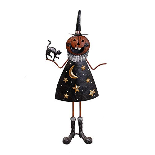Indoor Outdoor Metal Halloween Pumpkin Figurine, Kids Friendly Haunted House Decor Halloween Lawn Yard Garden Decorations for Home Party Favors Halloween Party Supplies (Halloween Pumpkin Figurine-B)