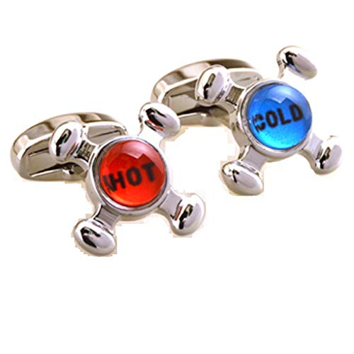 Cold Faucet Cufflinks - MRCUFF Faucet Plumber Hot Cold Red Blue Pair Cufflinks in a Presentation Gift Box & Polishing Cloth