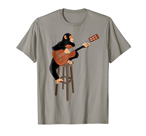 Mens Chimpanzee playing acoustic guitar. Funny monkey t-shirt. Large Slate Chimp Chimpanzee