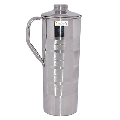 Prisha India Craft Handmade Stainless Steel Jug with Lid| Drinkware Set| Capacity 900 ML