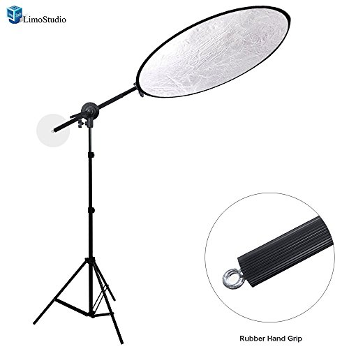 LimoStudio 43'' Lighting Reflector Diffuser with Rubber Hand Grip Extendable Reflector Holder Boom Arm Support Lighting Boom Stand, AGG1787 by LimoStudio