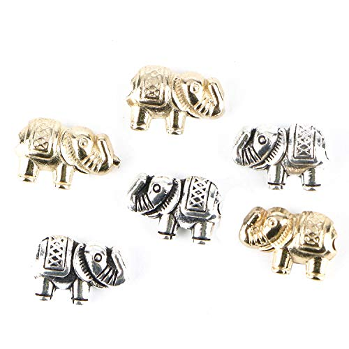 Monrocco 80Pcs Tibetan Lucky Elephant Spacer Beads Alloy Metal Elephant Loose Spacer Beads Animal Charm Beads for Jewelry Making ()