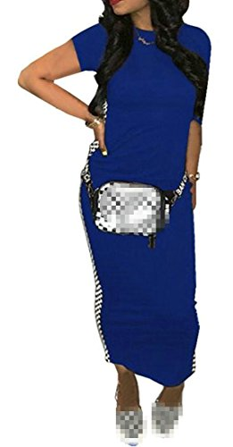 (Macondoo Women Chic Club Wear Bodycon Long Crewneck Checkerboard Dress Royal Blue L)