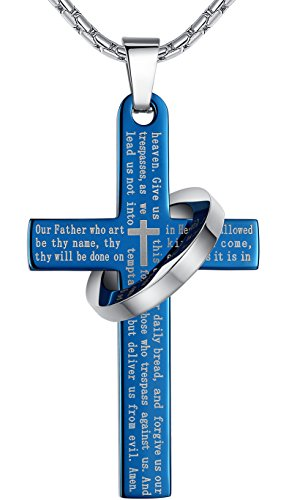 mens-stainless-steel-lords-prayer-cross-halo-pendant-necklace-blue-color-23-chain-ddp010la