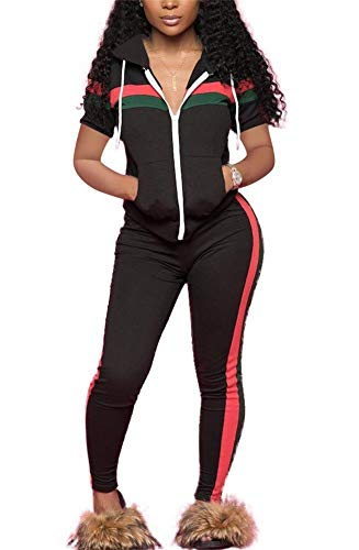 (LKOUS Women's Stripe 2 Pieces Outfits Short Sleeve Hooded Sweatshirt Shirt Tops and Bodycon Long Pants Tracksuit Set S-3XL)
