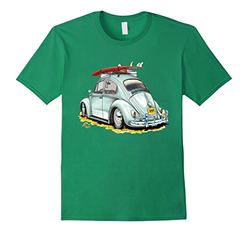 Surf Buggy (Men's California Road Trip Surfing T-shirt Buggy retro Surf tee Medium Kelly Green)