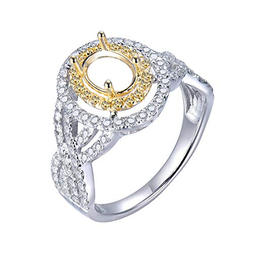 Beyond jewelry 6×8 mm Oval Shape 1.0 ct Two Tone Diamond Semi Mount Ring 14k Withe Gold