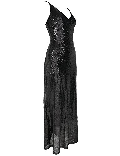 Flapper Deep Girl Mermaid Prom Dress Sequin Long V Dress Black Neck Backless Evening Sexy ZZfnwprS