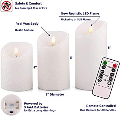 "Venta Set of 3 Realistic Flameless White LED Candles with Remote Control - 4"" 5"" 6"" Electric Wickless Pillar Battery Operated Candles with Flickering Flame Timer"